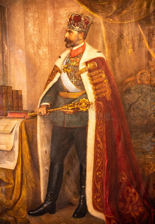 King Carol the first painting inside the royal palace from Bucharest , Romanian History stock photo