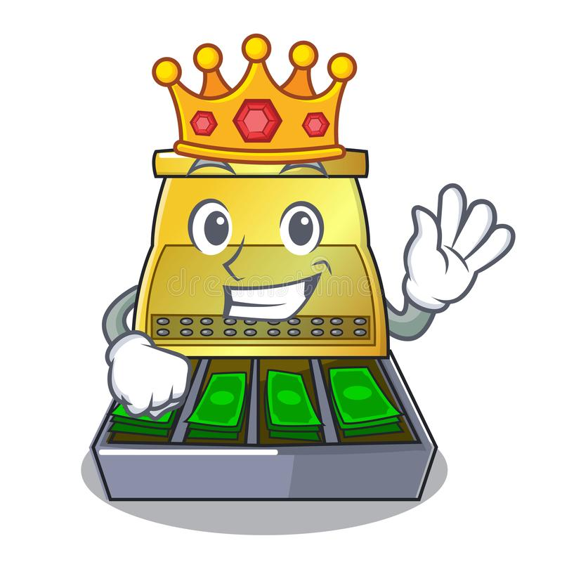 King cartoon cash register with a money drawer royalty free illustration