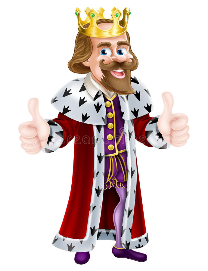 King Cartoon Mascot. Cartoon king wearing a crown and giving two thumbs up royalty free illustration