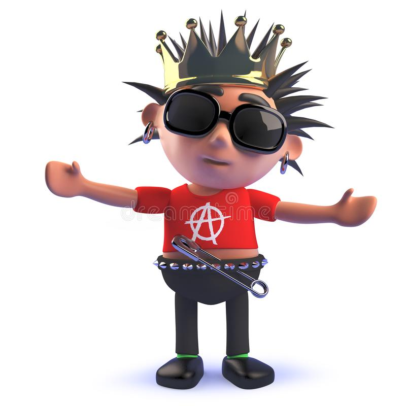 Free King Cartoon Punk Rock Characte In 3d Wearing A Royal Gold Crown Stock Photography - 150301432