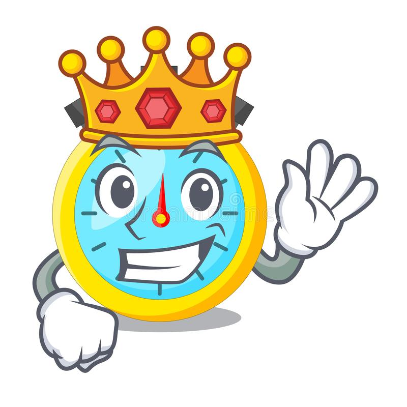 King cartoon stopwatch on for the race stock illustration