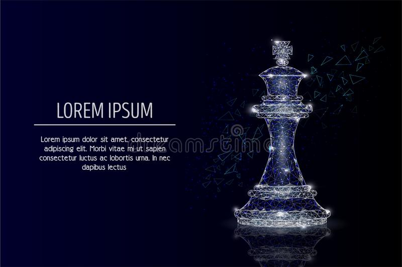 King chess piece vector geometric polygonal background stock illustration