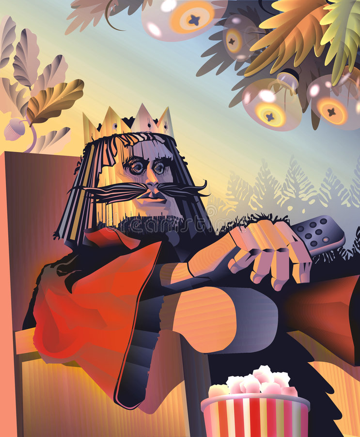 King of Chess - Wooden. Wooden king sits on the throne and watching TV stock illustration