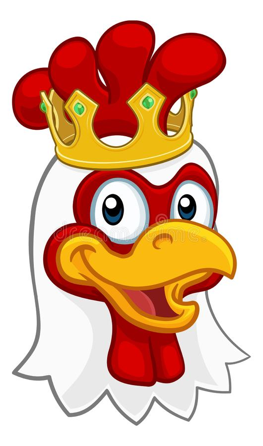 King Chicken Rooster Cockerel Bird Crown Cartoon. A chicken rooster cockerel bird cartoon character in a kings gold crown royalty free illustration