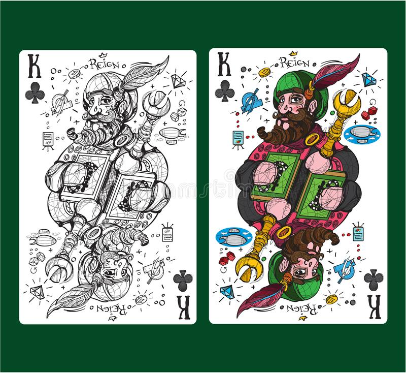 King of clubs playing card suit. Vector illustration vector illustration