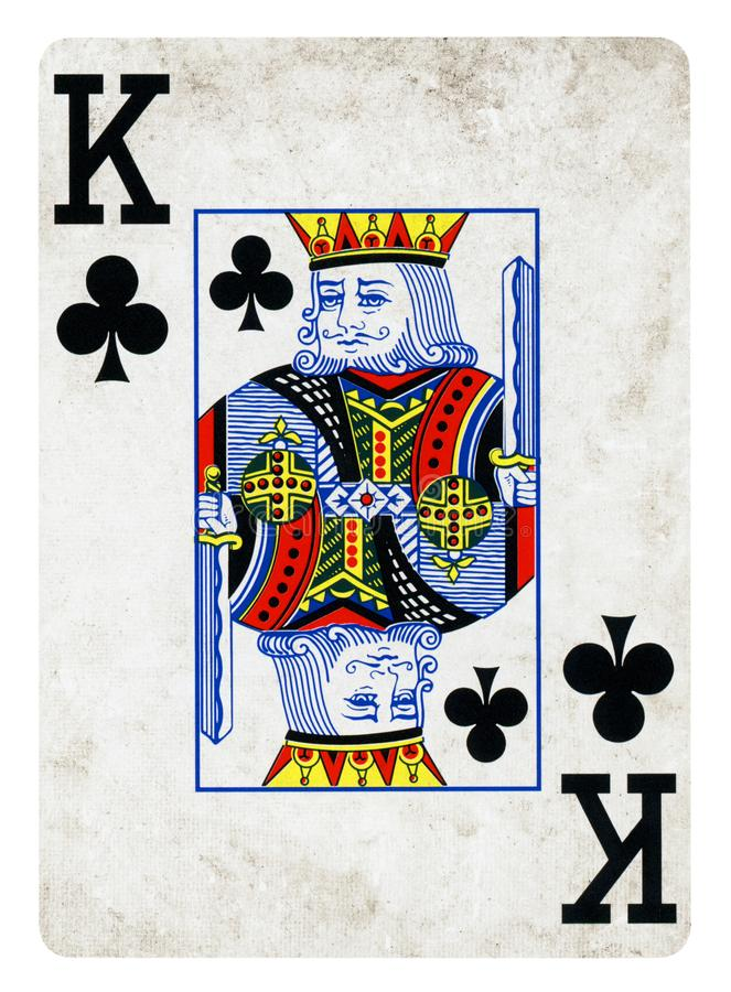 King of Clubs Vintage playing card - isolated on white. King of Clubs Vintage playing card isolated on white - clipping path included royalty free stock photography