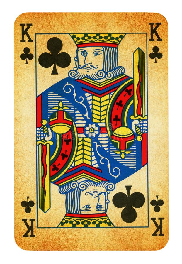 King of Clubs Vintage playing card - isolated on white. Clipping path included royalty free stock photography