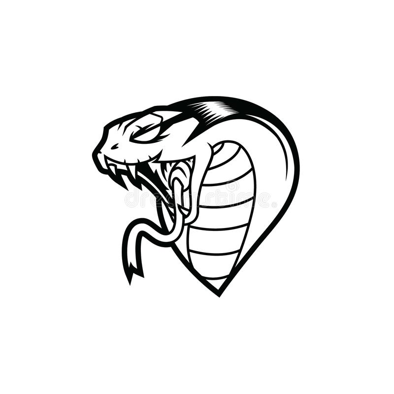 King Cobra Head Line Art Logo stock illustration