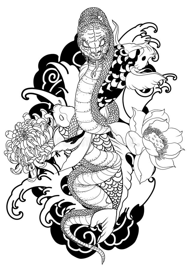 King cobra and koi fish Traditional tattoo.Hand drawn and Asian tattoo design Snake with Koi carp royalty free illustration