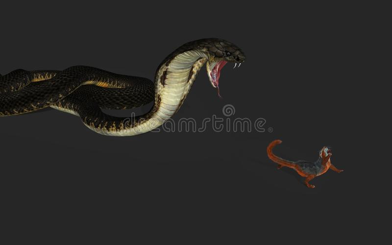 king cobra snake attack squirrel clipping path d illustration hunting escape 137999590