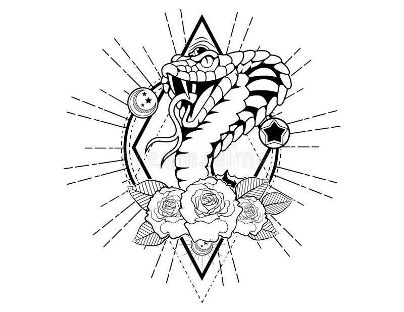King cobra tattoo sketch with roses vintage neo traditional tattoo sketch. Hand drawn retro animal tattoo sketch with roses in vintage style. ornate romantic stock illustration