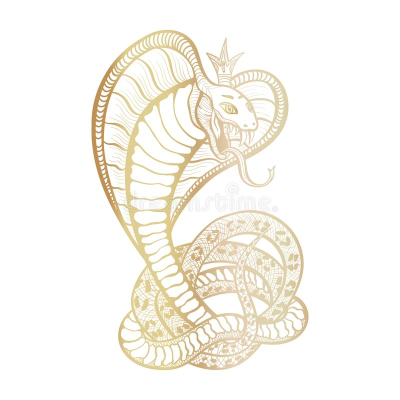 Free King Cobra With Hood And Crown. Golden Vector Isolated Viper Snake, Hand-drawn Luxury Logo For Hunting, Sports Theme Stock Images - 164230184