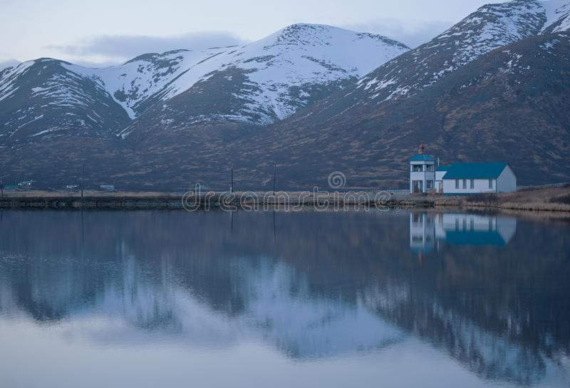 King Cove Alaska Russian Ortadox Church stock images
