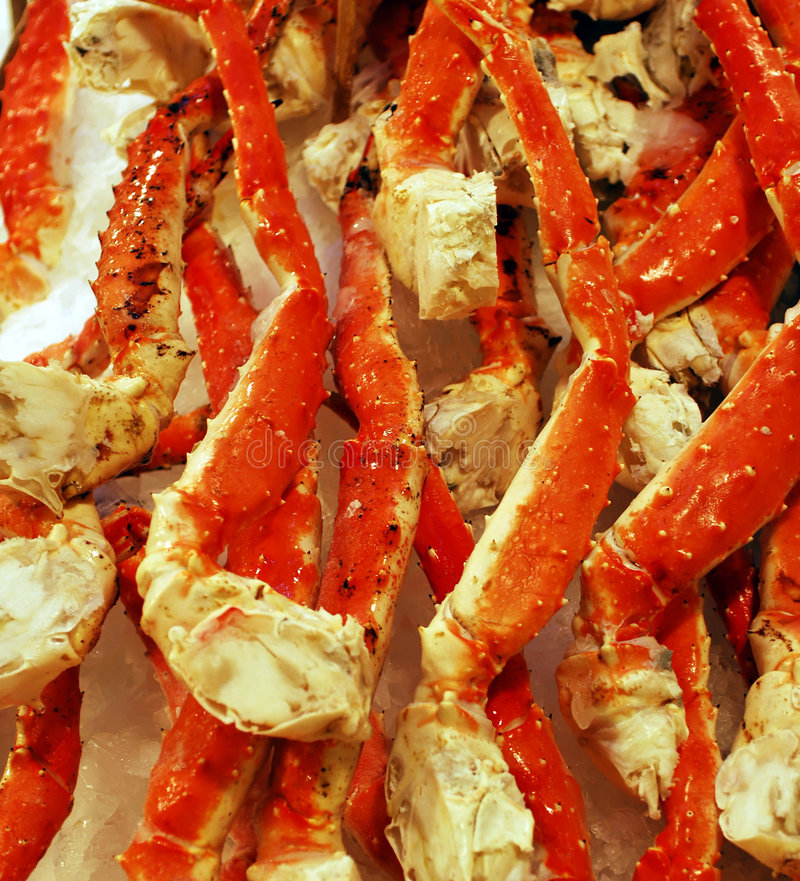 King Crab Legs on Ice. Fresh King Crab legs on ice for sale at market