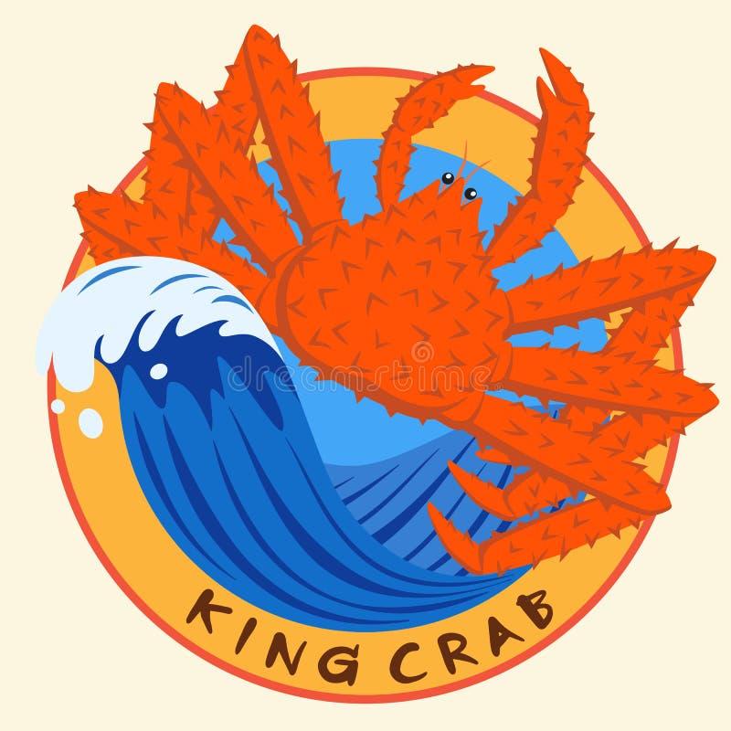 King crab seafood on blue wave circle logo stock illustration