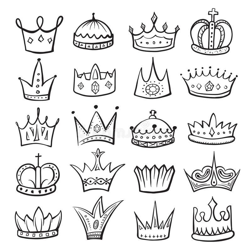 King crown sketch icon, monarch and royalty emblem royalty free illustration