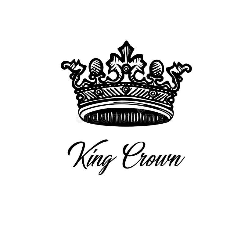 King crown. Vector Royal crown . Crown engraving. Luxury design element. Tattoo crown design.King crown vector illustration