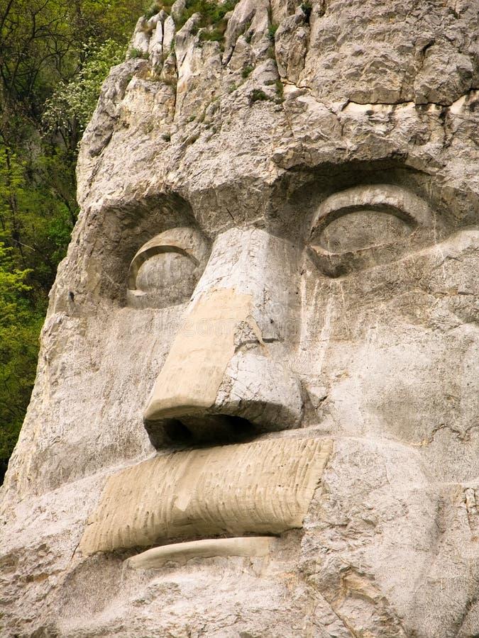 King Decebal face statue stock photo