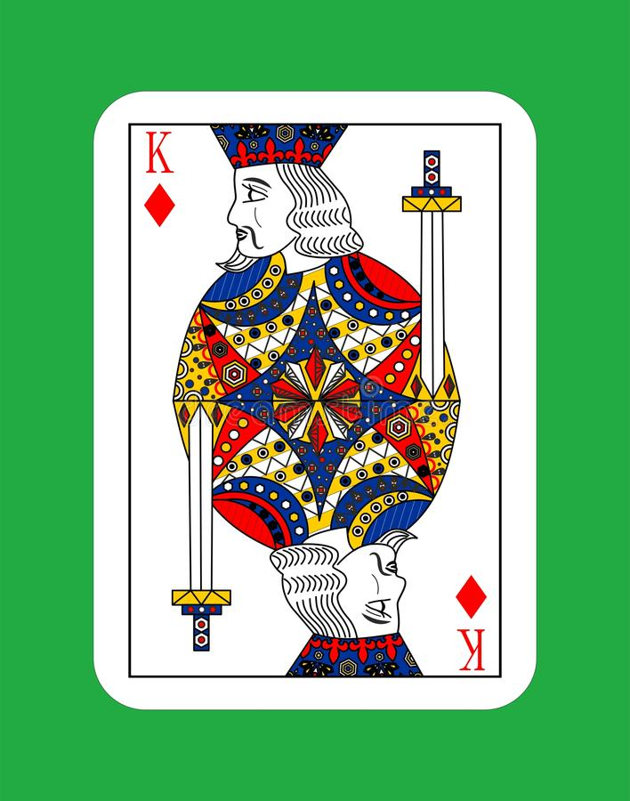 King of diamonds. The beautiful card of the king of diamonds in classic style stock illustration