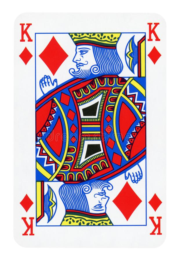 King of Diamonds playing card isolated on white. Clipping path included royalty free stock photos