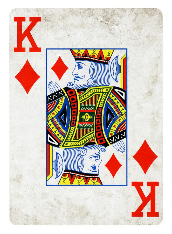 King of Diamonds Vintage playing card isolated on white. Clipping path included stock image