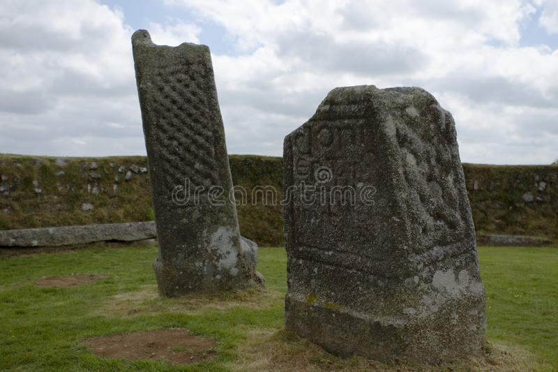 King Donierts Stone. Consisting of two pieces of a decorated 9th century cross, near St Cleer, Bodmin Moor, Cornwall royalty free stock photo