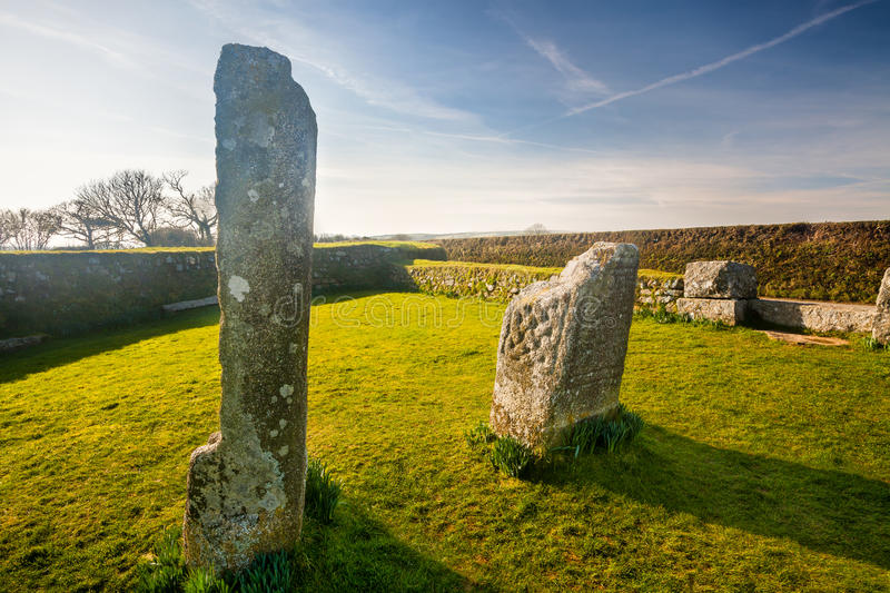 King Donierts Stone Cornwall. King Donierts Stone consisting of two pieces of a decorated 9th century cross, near St Cleer, Bodmin Moor, Cornwall royalty free stock photography