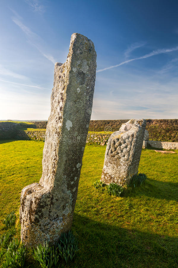 King Donierts Stone Cornwall. King Donierts Stone consisting of two pieces of a decorated 9th century cross, near St Cleer, Bodmin Moor, Cornwall stock image