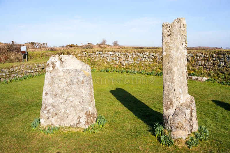 King Donierts Stone Cornwall. King Donierts Stone consisting of two pieces of a decorated 9th century cross, near St Cleer, Bodmin Moor, Cornwall royalty free stock photo