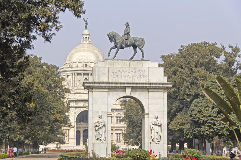 King Edward VII. Horse monument of Emperor Edward VII in front of the Victoria Monument in Calcutta royalty free stock photos