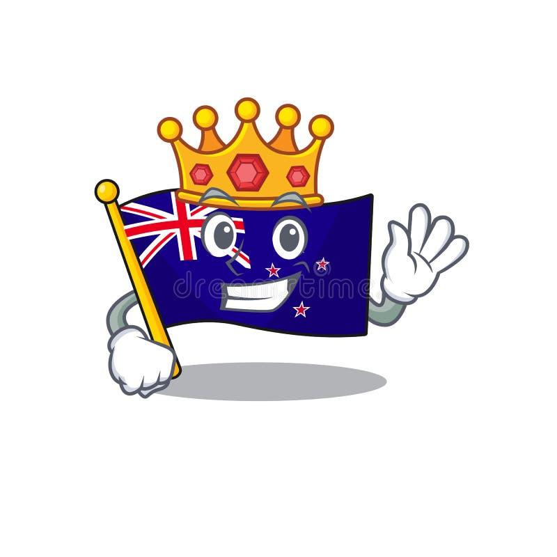 King flag new zealand in cartoon drawer. Vector illustration vector illustration