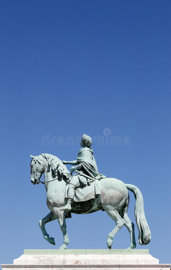 King Frederik V on horseback. Danish king Frederik V of Denmark and Norway 31 March 1723 - 14 January 1766 on horseback bronze sculpture at Amalienborg palace stock photos