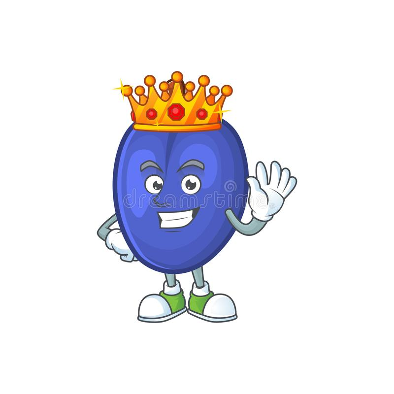 King fruits prune character on white background. Vector illustration royalty free illustration