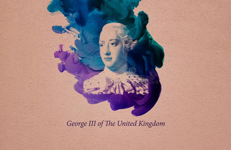 King George III of the United Kingdom. George III was King of Great Britain and King of Ireland from 25 October 1760 until the union of the two countries on 1 royalty free illustration