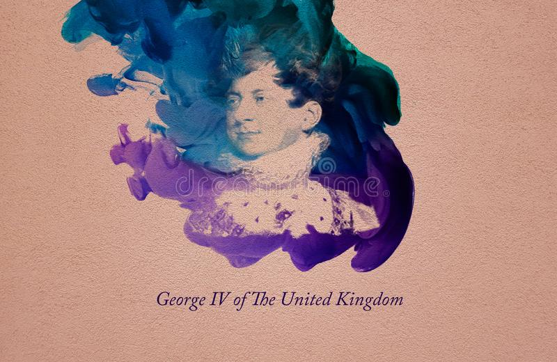 King George IV of the United Kingdom. George IV was King of the United Kingdom of Great Britain and Ireland and King of Hanover following the death of his father vector illustration