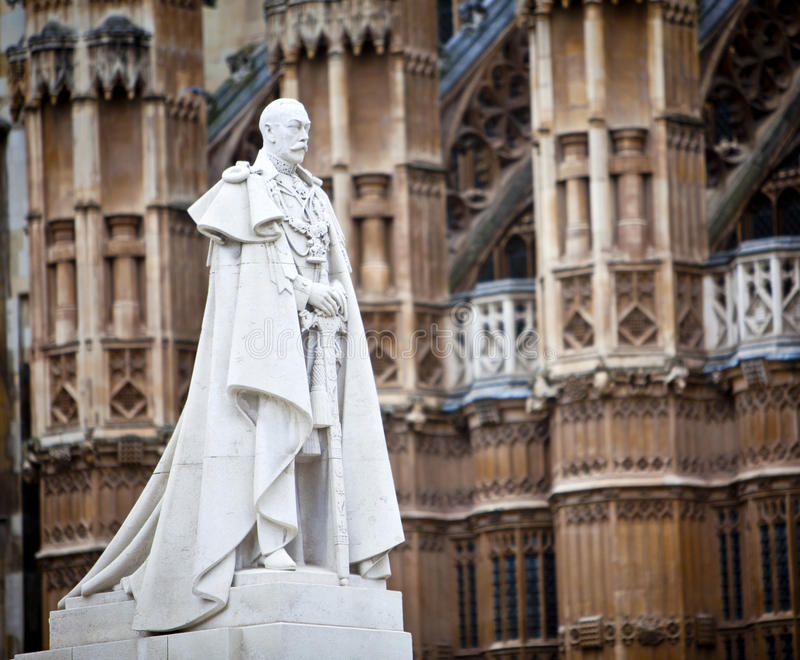 King George V. Memorial outside the Houses of Parliament, London, England stock images