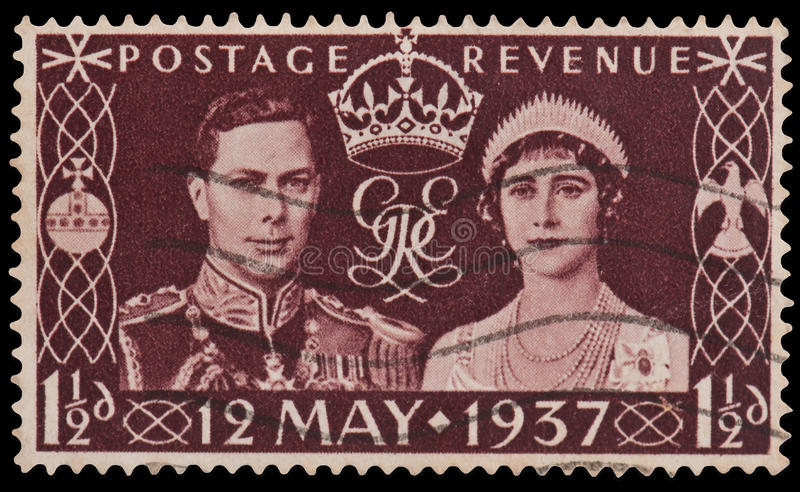King George VI Coronation Stamp. British Stamp commemorating King George VI and Queen Elizabeth at his coronation in 1937 stock photo