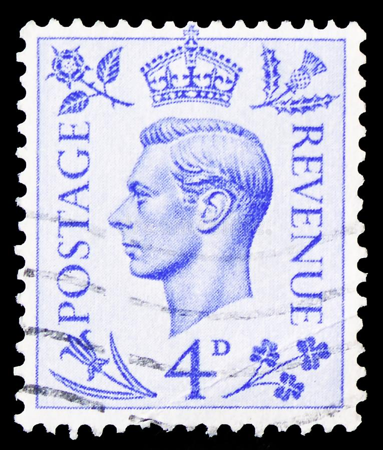 King George VI, Definitives serie, circa 1950. MOSCOW, RUSSIA - MARCH 30, 2019: A stamp printed in United Kingdom shows King George VI, Definitives serie, circa royalty free stock photography