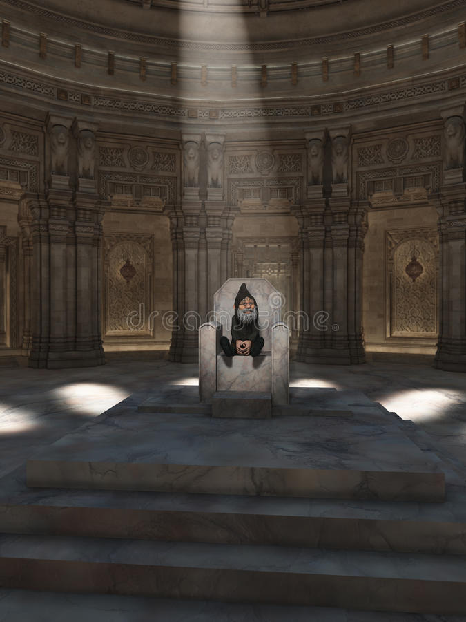 King of the Gnomes. Fantasy illustration of the King of the Gnomes sitting on his throne in the great hall, 3d digitally rendered illustration vector illustration