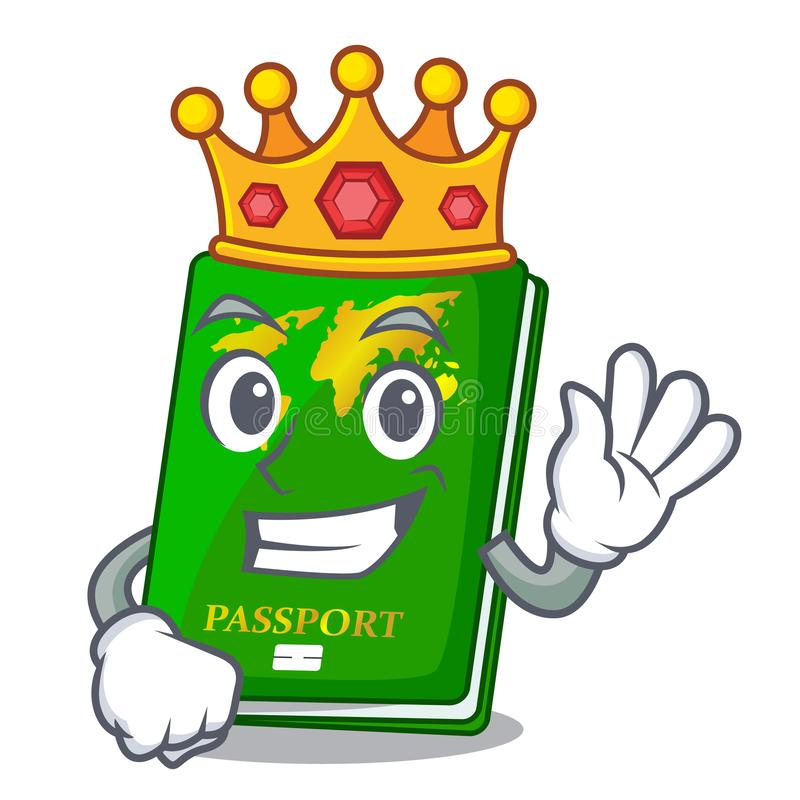 King green passport on the mascot table. Vector illustration stock illustration
