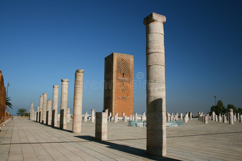King Hassan Tower Morocco. The King Hassan Tower in Rabat, Morocco stock photos