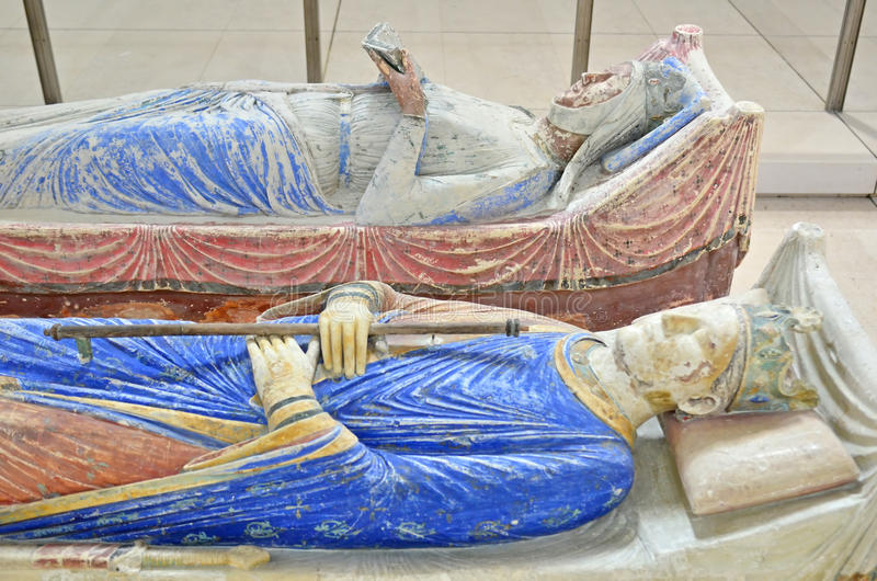 King Henry II and Queen Eleanor. The tombs of King Henry II and Queen Eleanor of Aquitaine in Fontevraud Abbey stock image