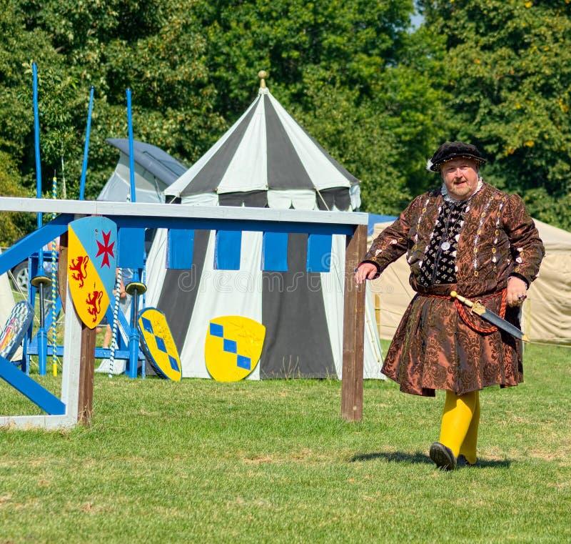 King Henry Vlll Medieval reenactment portrait. Jousting reenactment royalty free stock photos
