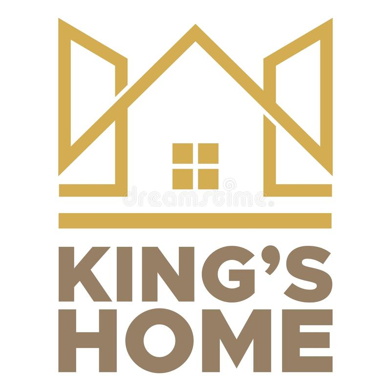 King Home abstract logo. King Home suitable for icon and logo of housing company, realestate, mortgages, architecture and others royalty free illustration