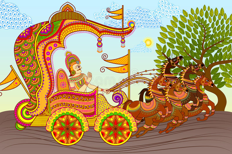 King in Horse Chariot stock illustration