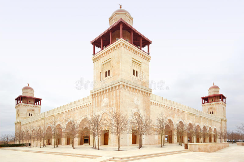 King Hussein Bin Talal mosque in Amman stock images