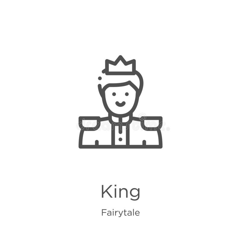 king icon vector from fairytale collection. Thin line king outline icon vector illustration. Outline, thin line king icon for stock illustration
