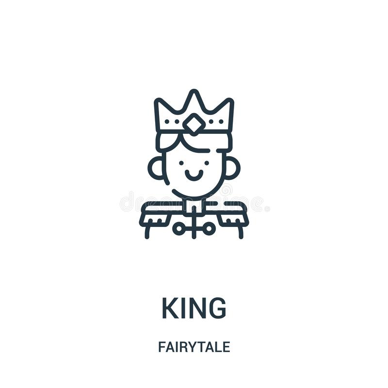 king icon vector from fairytale collection. Thin line king outline icon vector illustration royalty free illustration