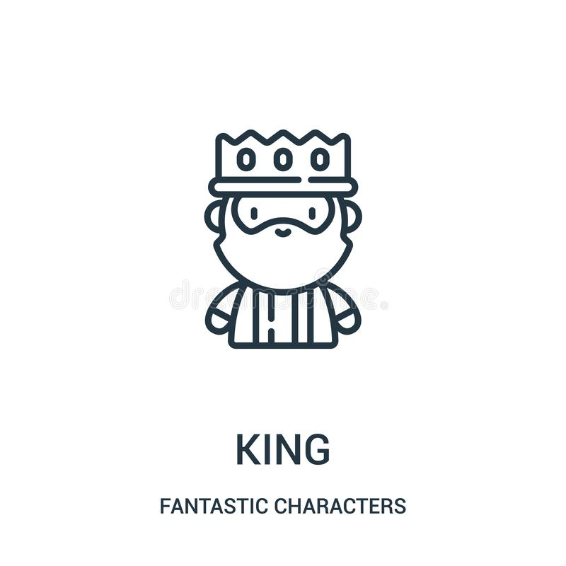 king icon vector from fantastic characters collection. Thin line king outline icon vector illustration royalty free illustration