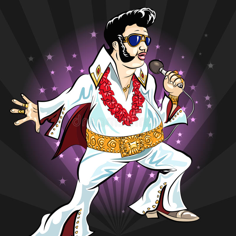 The king. Illustration with singing elvis presley drawn in cartoon style stock illustration